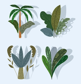 Tropische planten boom plams gebladerte natuur cartoon set illustratie