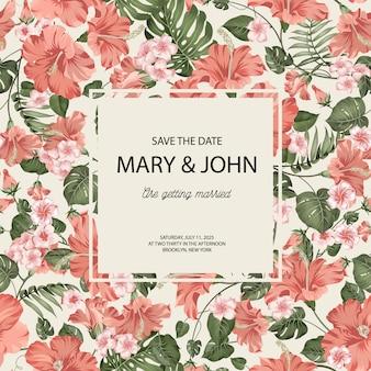 Tropische plumeria en palmbladen. geweldige uitnodigingskaart met tekstblok in het midden en paradijsbloemen die over grijs op de achtergrond worden geïsoleerd.