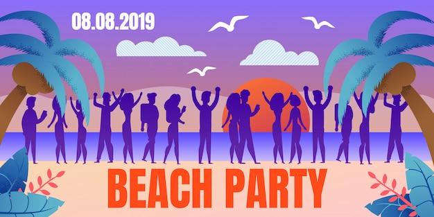 Tropische resort beach party platte vector poster