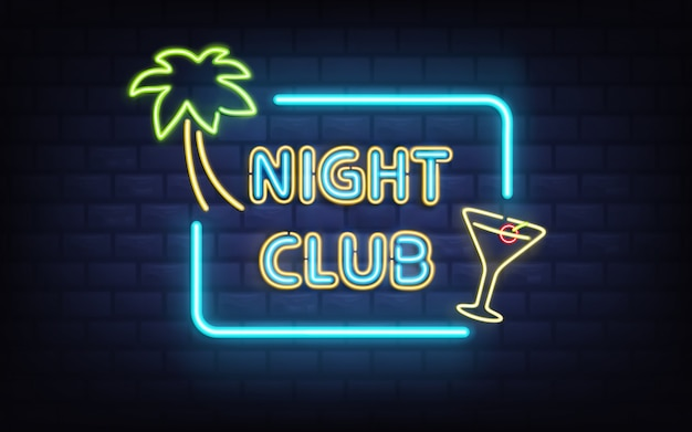 Tropische resort nachtclub, cocktailbar of pub vintage stijl Gratis Vector
