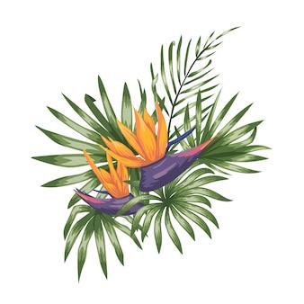 Tropische samenstelling van strelitzia bloemen, monstera en palmbladeren geïsoleerd. heldere realistische aquarel stijl exotische designelementen.