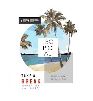 Tropische slogan op strandpalmen in de illustratie van de cirkelvorm
