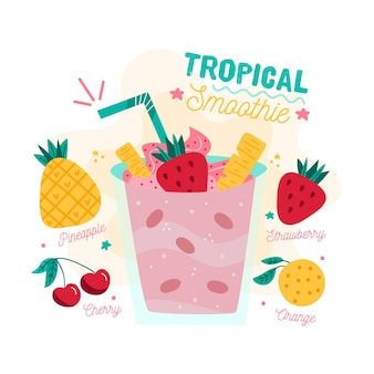 Tropische smoothie recept illustratie
