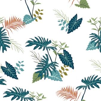 Tropische tuinbladeren op monotone blauwe kleuren naadloos patroon
