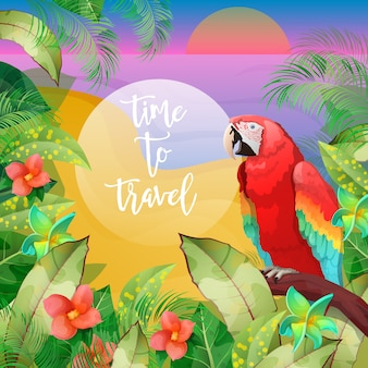Tropische vakantie banner. exotisch eiland. strandvakantie. exotische papegaai.