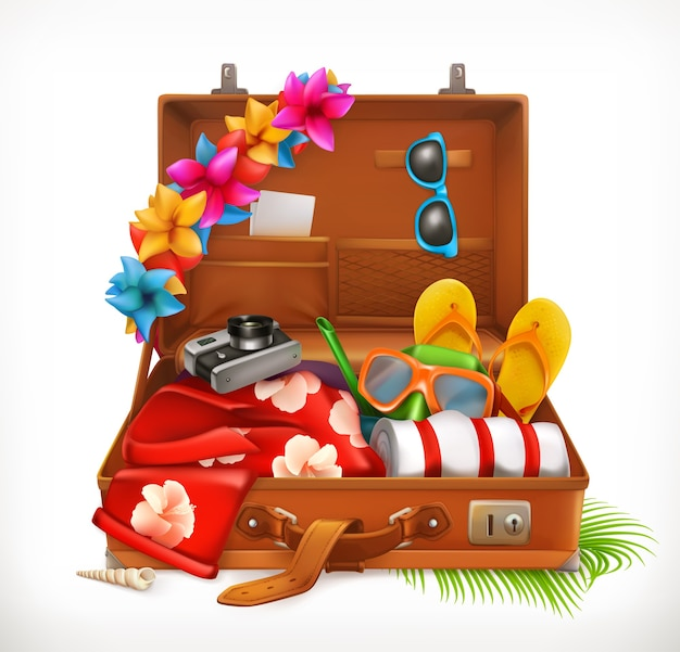 Tropische vakantie. zomervakantie, open koffer. 3d-vector illustratie