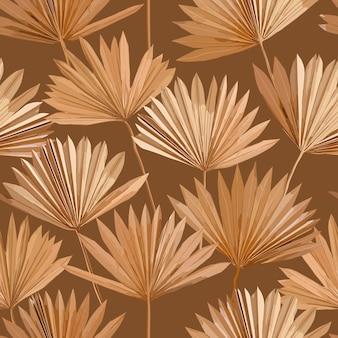 Tropische vector droge palm bladeren naadloze patroon, aquarel ontwerp boho achtergrond voor bruiloft, textiel print, exotische tropische behang textuur, dekking, achtergrond, decoratie