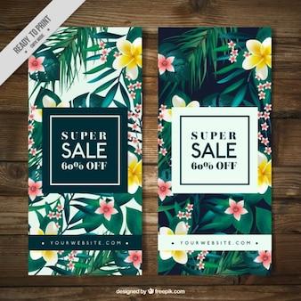 Tropische vegetatie verkoop banners