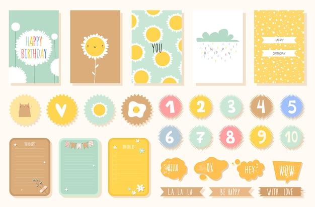 Tropische verjaardagskaart met cijfers en stickers met schattige dieren voor de kinderkamer in een scandinavische stijl in pastelkleuren