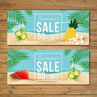 Tropische verkoop banners set