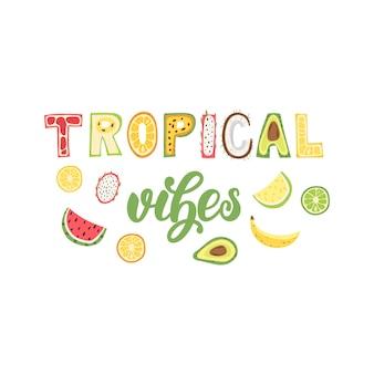 Tropische vibes - belettering posterontwerp. illustratie.