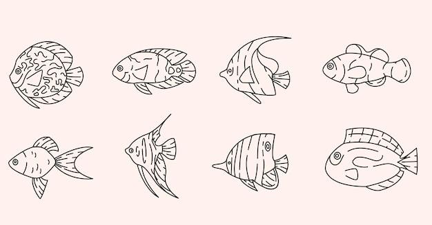 Tropische vissen schetsen elementen collectie