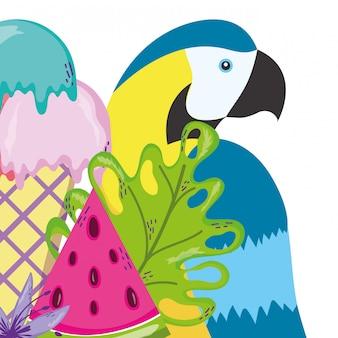 Tropische vogel papegaai cartoon