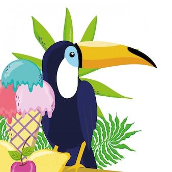 Tropische vogel tucano cartoon
