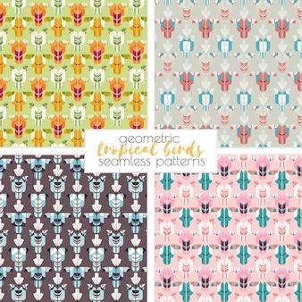 Tropische vogels naadloze patronen. vector achtergrond. papegaai, toucan, kakadoe, palmbladeren. geometrische illustratie.