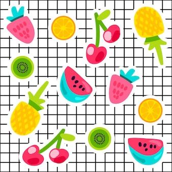 Tropische vruchten doodle kleur stickers set. ananas, watermeloen, kiwi, sinaasappel, kersenpatches collectie