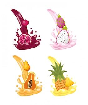 Tropische vruchten logo's