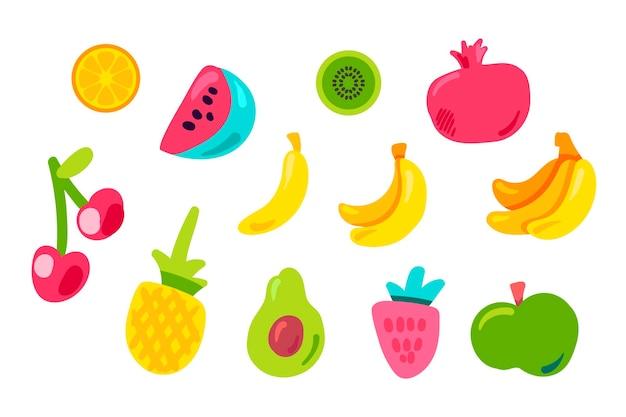 Tropische vruchten platte vector set. ananas, aardbei, granaatappel. vectorstickers op oranje