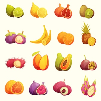 Tropische vruchten retro cartoon icons set