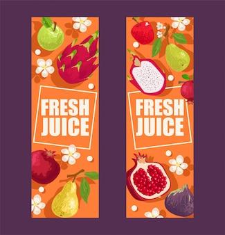 Tropische vruchten set van banners illustratie. exotische zomerproducten zoals mangosteen, appel, drakenfruit, peer, granaat. bloemen met bladeren. helften en hele vruchten.