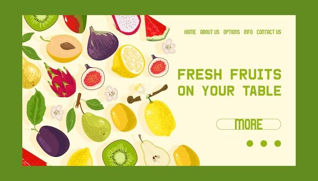 Tropische vruchten winkel banner web ontwerp illustratie. exotische zomerproducten zoals mangosteen, kiwi, drakenfruit, watermeloen. helften en hele vruchten. vers fruit op uw tafel.