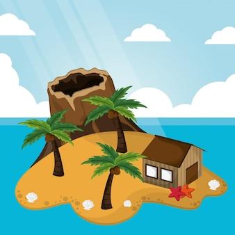 Tropische vulkaan hut palmboom zonlicht zeester zand