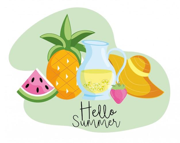 Tropische watermeloen met ananas en limonade in de zomer
