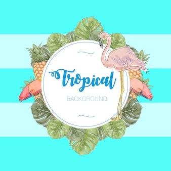 Tropische waterverf en met de hand gemaakte vectorillustratie
