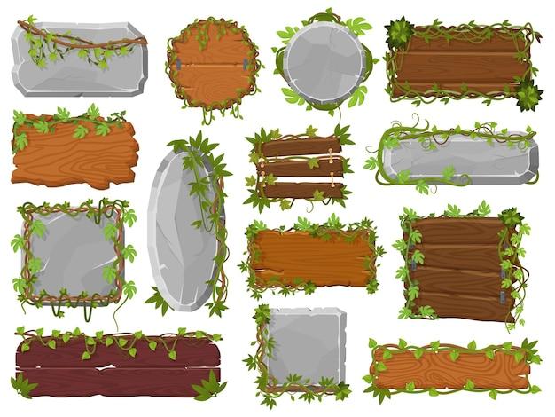 Tropische wilde regenwoudsteen, houten planken met lianen en groene bladeren