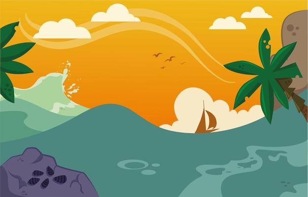Tropische zee cartoon achtergrond vectorillustratie
