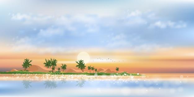 Tropische zeegezichtzonsondergang met blauwe oceaan, kokospalm op eiland