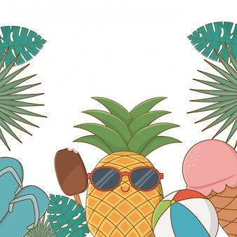 Tropische zomer achtergrond met cartoons