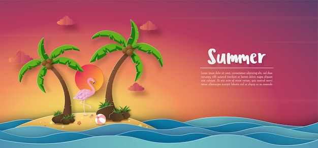 Tropische zomer banner achtergrond, zonsondergang kleurrijke hemel