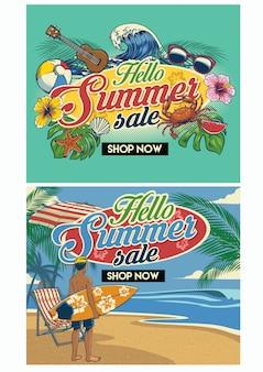 Tropische zomer beach flyer ontwerpset