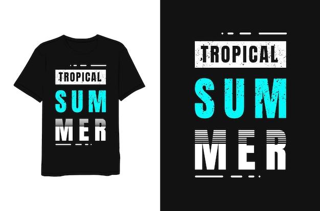 Tropische zomer, belettering blauw wit minimalistische moderne eenvoudige stijl