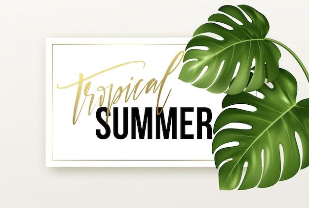 Tropische zomer belettering op de achtergrond van realistische heldergroene bladeren van monstera.