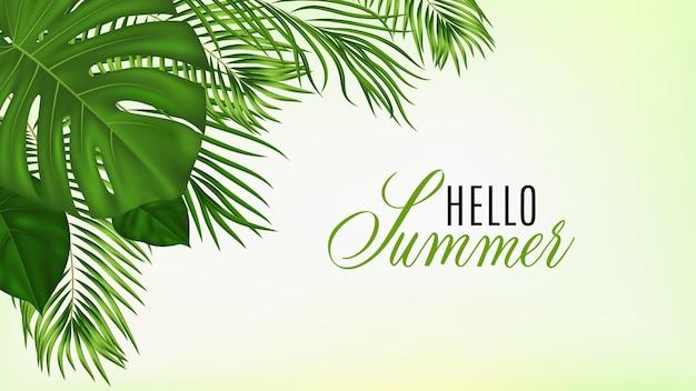 Tropische zomer met groene palmbladeren