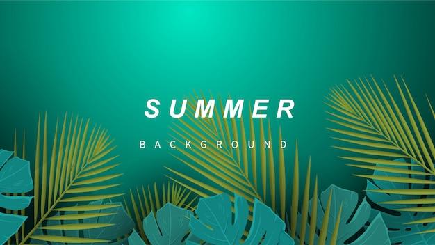 Tropische zomer verlaat achtergrond.