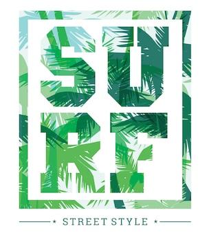 Tropische zomerdruk met slogan voor grafisch t-shirt en andere