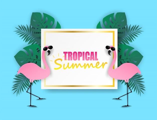 Tropische zomervakantie. ontwerp met flamingo en tropische bladeren op kleurrijke pastelkleuren. papier kunststijl.