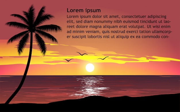 Tropische zonsondergang achtergrond met tekst