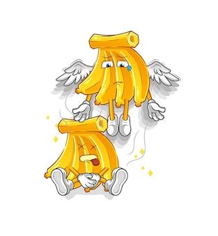 Tros bananen geest verlaat de mascotte van het lichaam. cartoon mascotte