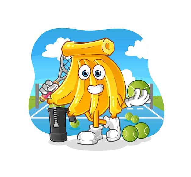 Tros bananen speelt tennis illustratie. cartoon mascotte mascotte