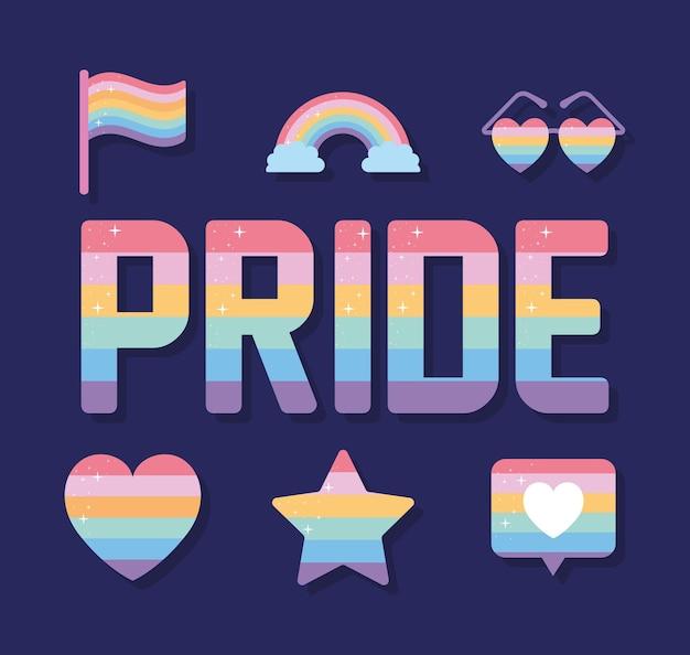 Trots belettering en set pictogrammen met lgbtq pride-kleuren