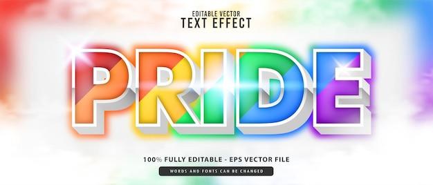 Trots, premium vector bewerkbare moderne 3d rainbow schattig gloeiend cartoon-stijl teksteffect, perfect voor poster, alle printproducten of gametitels.