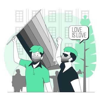 Trots protest dragen gezichtsmaskers concept illustratie