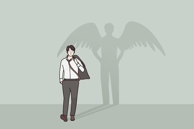 Trotse gelukkig zelfverzekerde zakenman wandelen met superheld schaduw