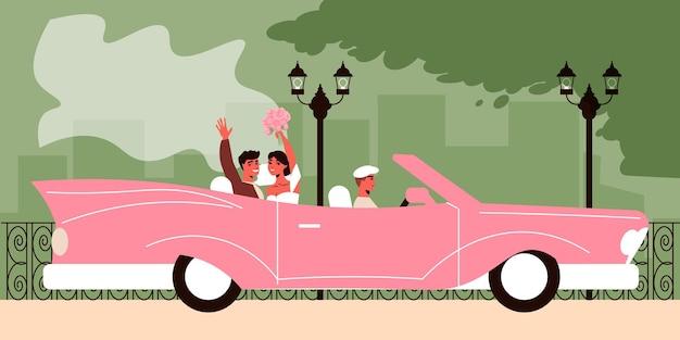 Trouwauto illustratie met buitenlandschap met pas getrouwd stel