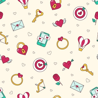 Trouwdag, valentijnsdag - 4 februari. hou van naadloze patroon