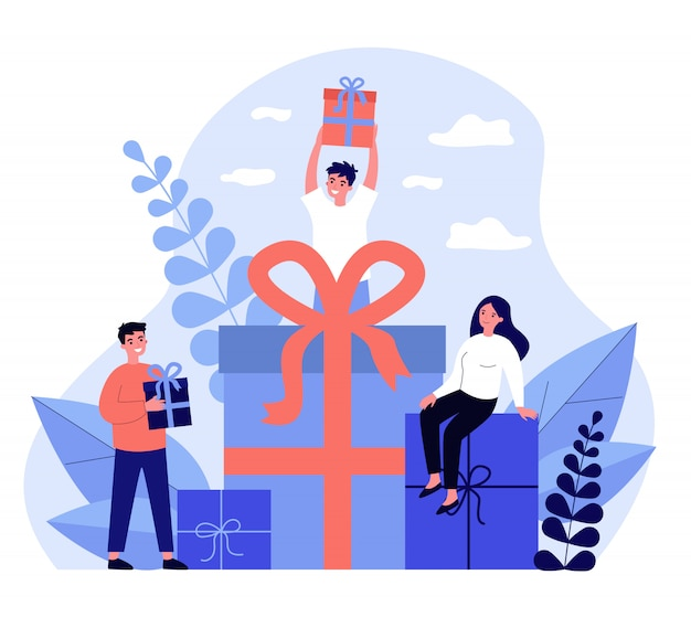 Trouwe klanten die cadeaus en bonussen uit de winkel krijgen
